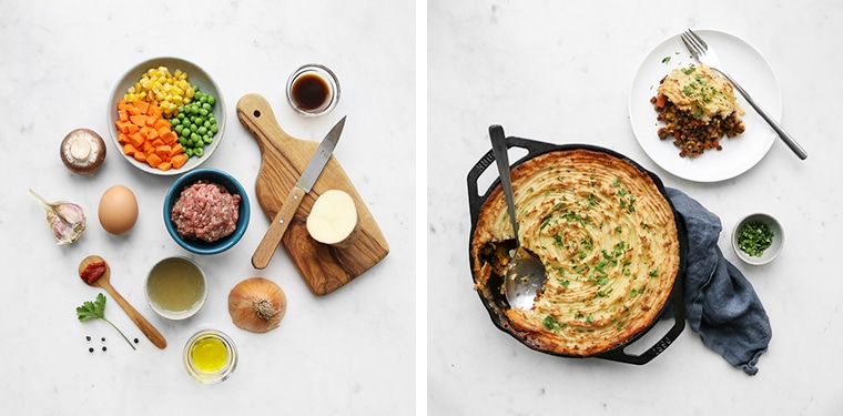Flat lay image of ingredients for beef shepherds pie and image of cooked shepherds pie in a cast iron skillet