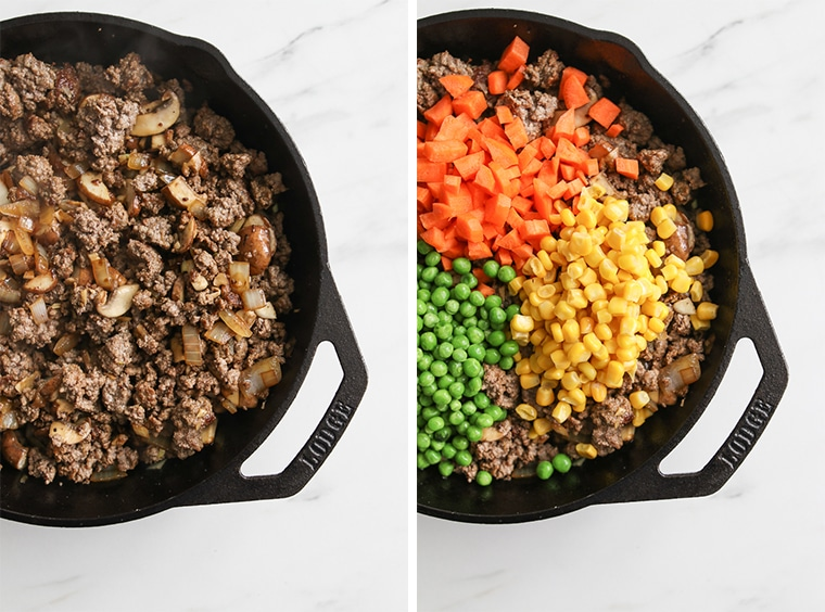 Cast iron skillet with browned beef and mushrooms, and cast iron skillet with cooked beef topped with diced carrots, corn, and peas