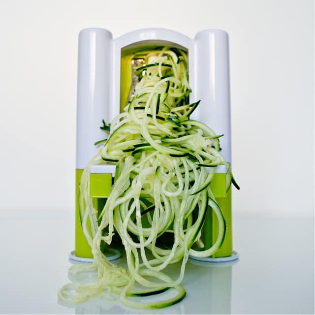 spiralled zucchini for zucchini carbonara