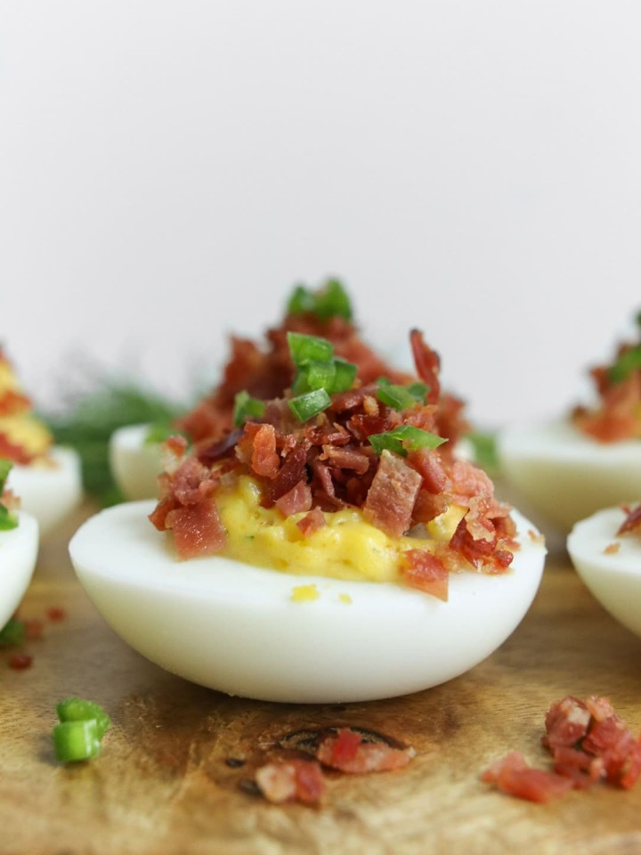 Close up of deviled egg from the side