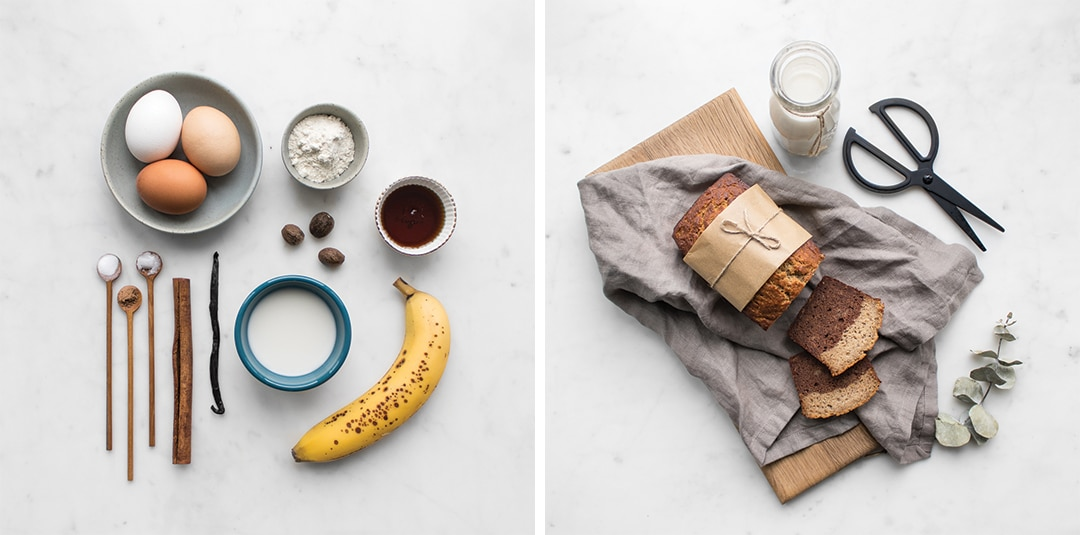 The ingredient flat lay and finished banana bread
