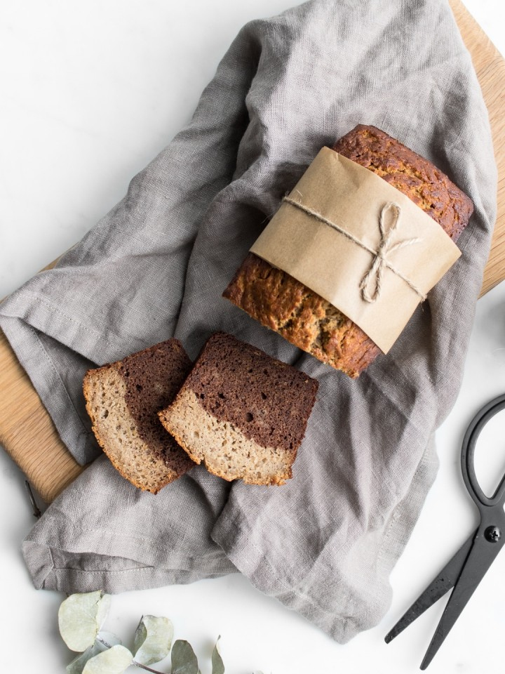 Banana Bread wrapped in brown paper