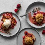 Strawberry Rhubarb Crisp on Plates with Ice Cream