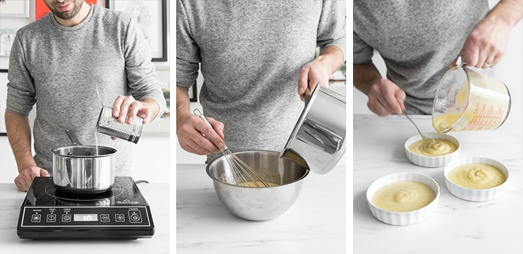 Philip pouring coconut milk into a saucepan, tempering the eggs, and pouring the brûlée into ramekins