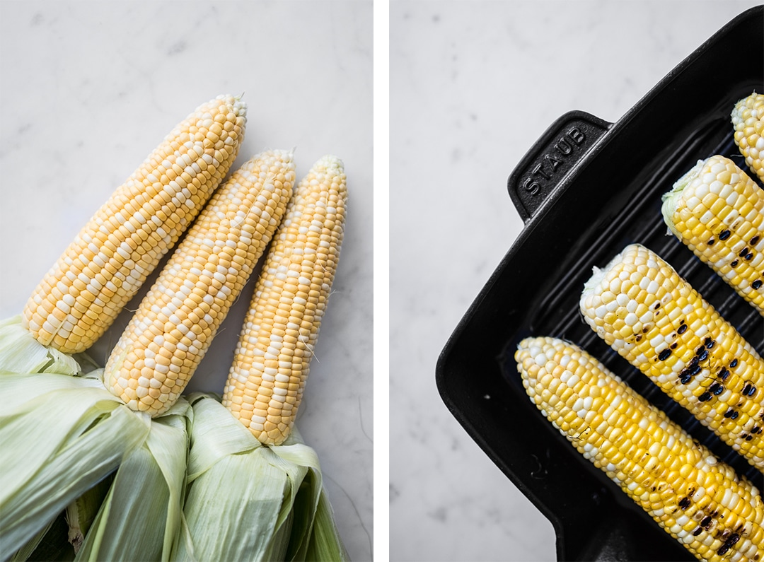 Three Cobs of Corn next to Grilled Corn on the Cob