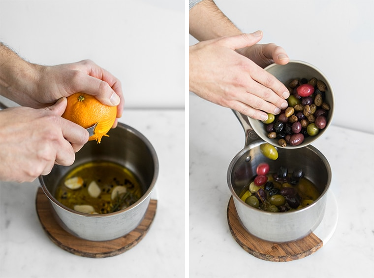 Philips zesting an orange over a pot of olive oil, peppercorns, garlic, and rosemary and Philip dumping olives into pot with olive oil.