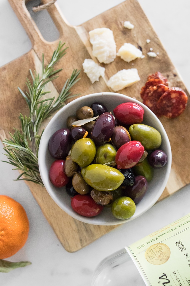 Close up of warm olives in a bowl