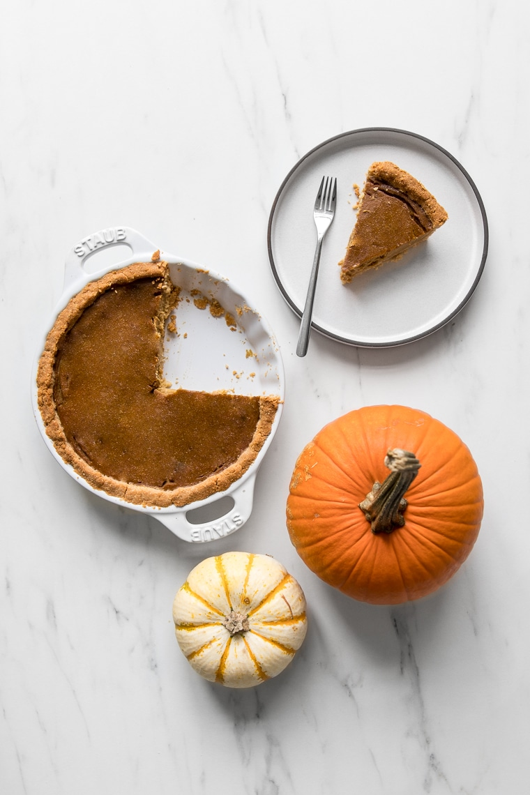 Paleo pumpkin pie being served