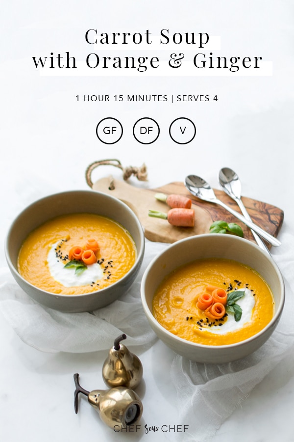 This plant based carrot and ginger soup is fresh, bright, and flavourful with sweet roasted carrots, warming ginger, and a subtle hint of garlic making it a great soup recipe for anytime of the year. - chefsouschef.com #soup #carrots #carrotsoup #vegan #whole30 #paleo #vegetarian #plantbased #foodphotography #chefsouschef