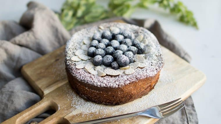 Flourless Almond Cake with blueberries and slivered almonds