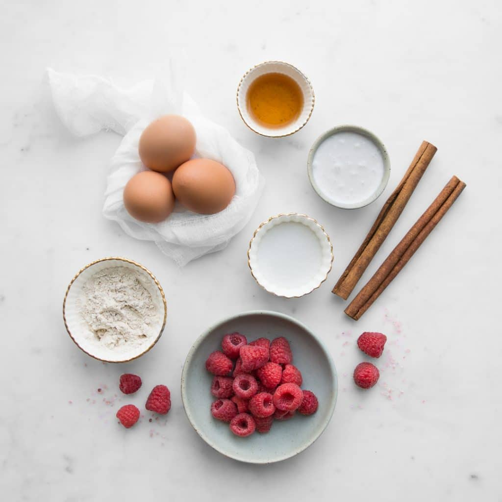 Raspberries, eggs, coconut milk, flour, cinnamon, sugar