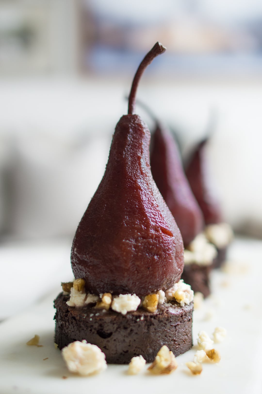 Port Poached Pear on Chocolate Cake Round and Blue Cheese