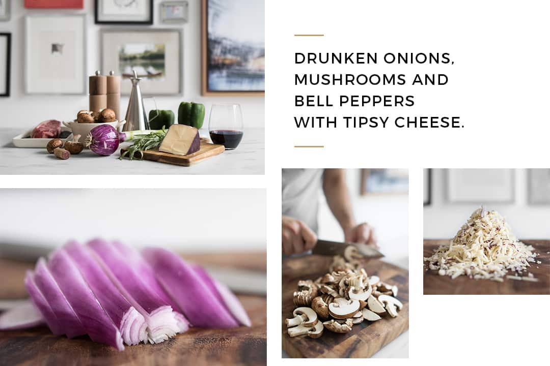 Various Images of Sliced Red Onions, Sliced Mushrooms, and Grated Cheese
