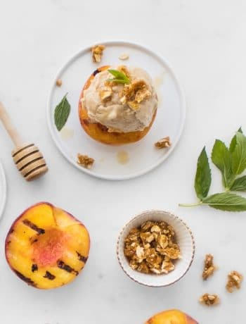 Banana Ice Cream on Grilled Peaches with Mint, Honey and Nuts
