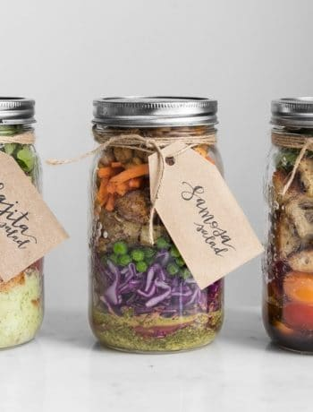 Three different salads in mason jars