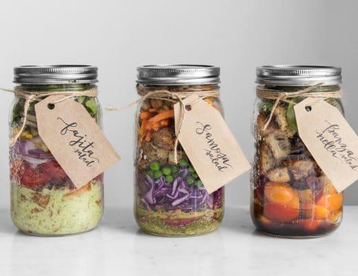 Three different salads in mason jars
