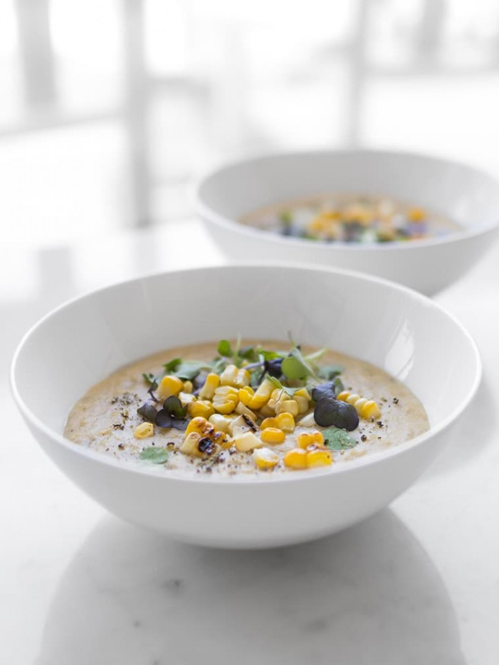 Two Bowls of Coconut Corn Chowder