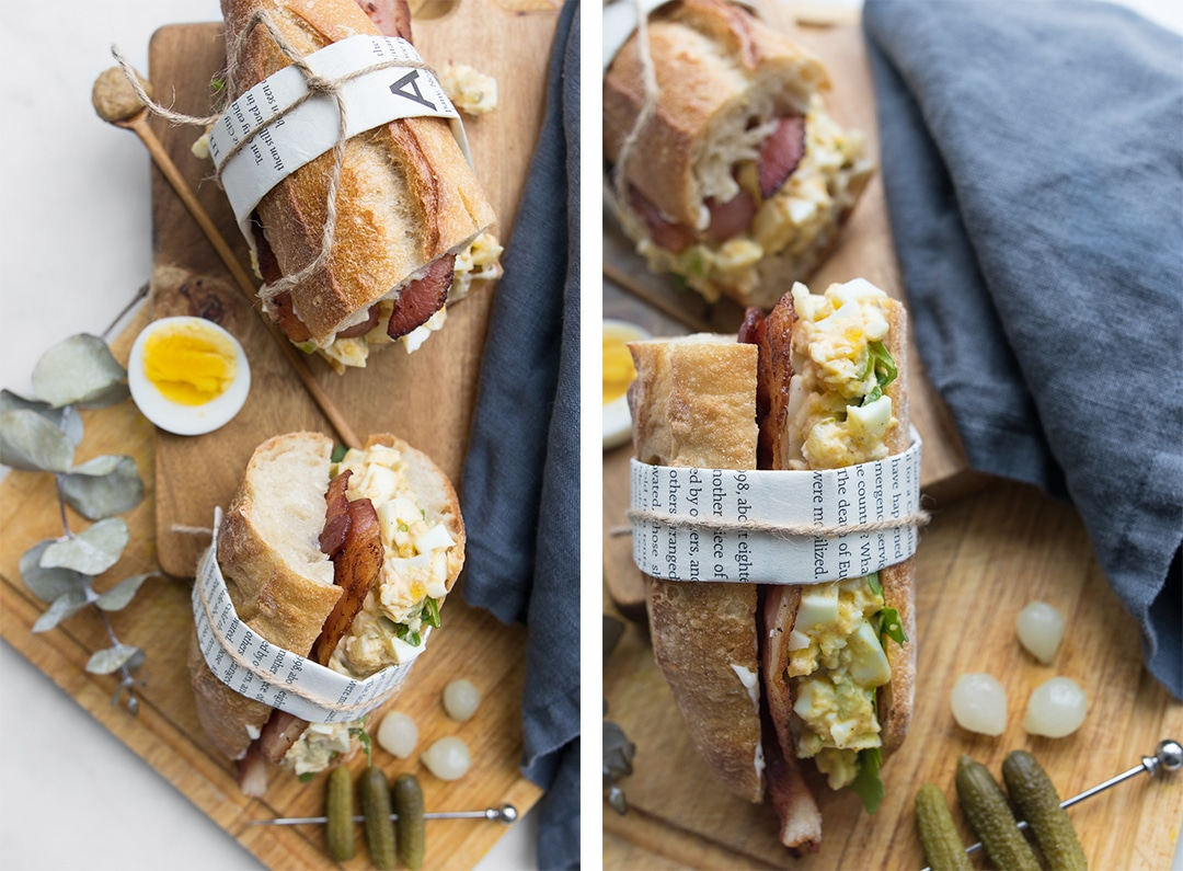 Simple Egg Salad & Bacon Sandwich Flat lay