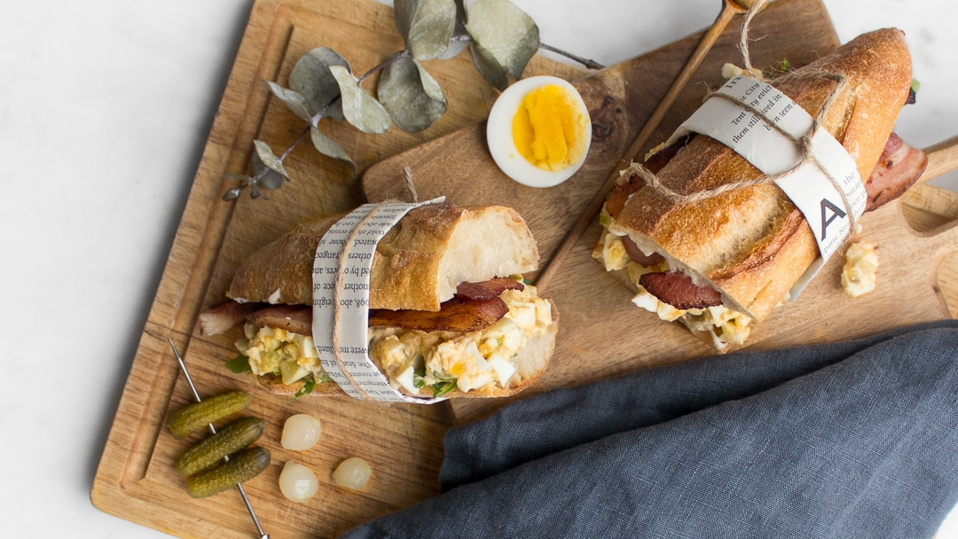 Simple Egg Salad & Bacon Sandwich