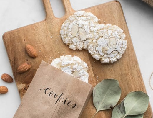 Close up of amaretti cookies on a wooden board