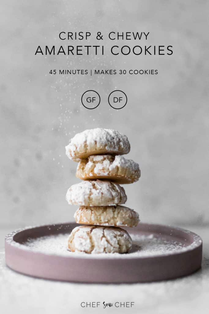 Gluten Free and Dairy Free Amaretti Cookies on a Pink Plate with Text Overlay