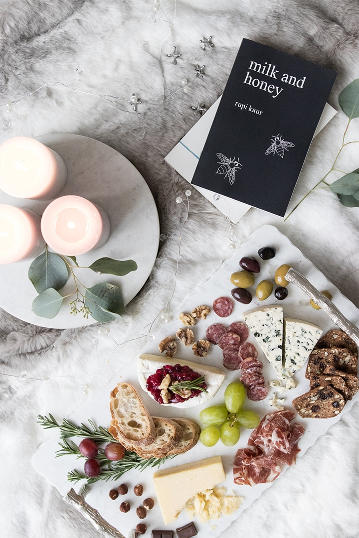 Sometimes you need to take time to yourself during the busy season and there is no better way to do so than with a comforting cheeseboard with Castello Cheese, olives, meat and fruit. #BeautifulFood #Cheeseboard #DateNight #Charcuterie