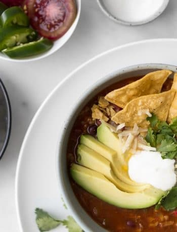 Close up of the topped Chicken Fajita Soup with avocados, sour cream, cilantro, and nacho chips