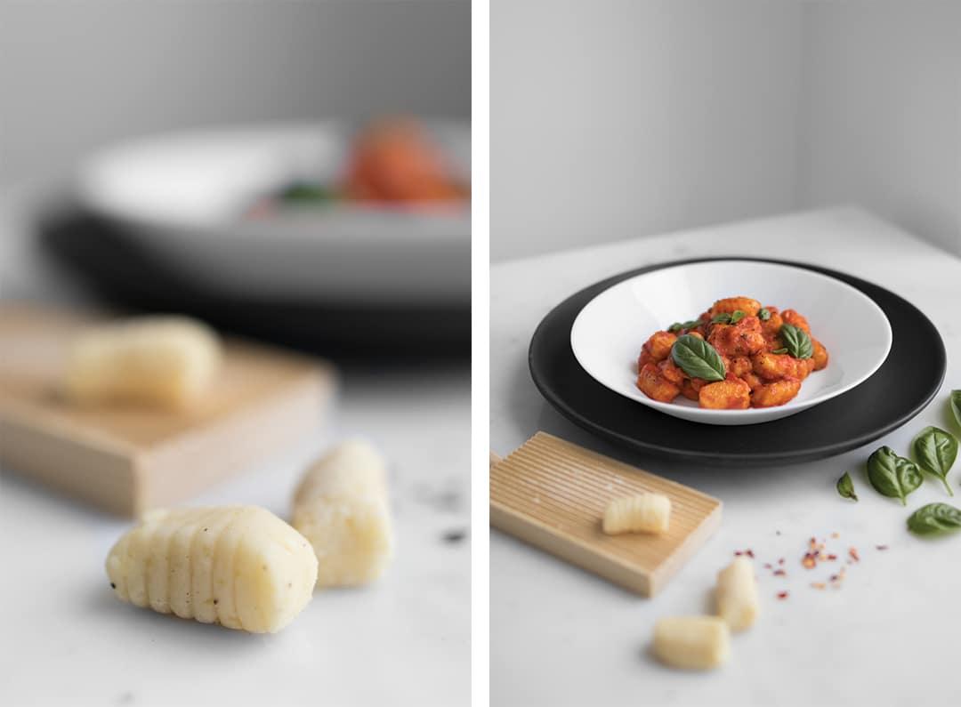 Uncooked Gnocchi Next to Bowl of Gnocchi in Tomato Sauce