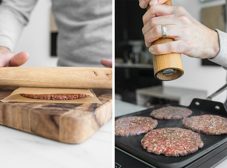 Phil rolling the homemade big mac patties with a rolling pin and seasoning the patties while they cook