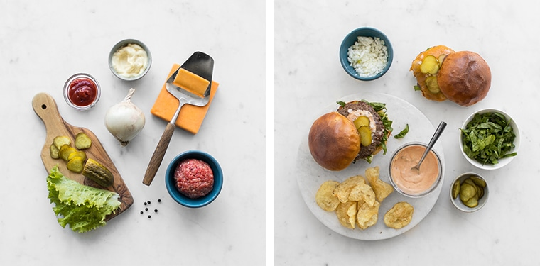 Flat lay image of the homemade big mac ingredients and overhead flatly of the finished big macs