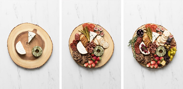 Three images of the progress of styling a cheese and charcuterie board