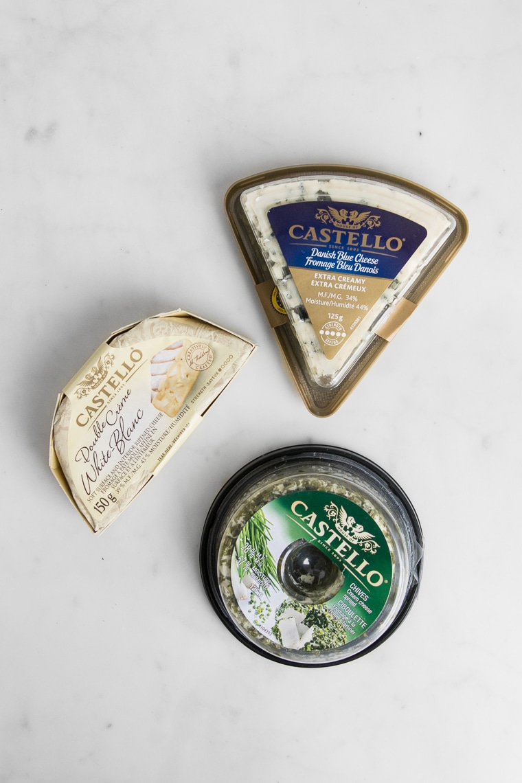 Product image of Castello Blue Cheese, Castello Brie Cheese, and Castello Chives Cream Cheese