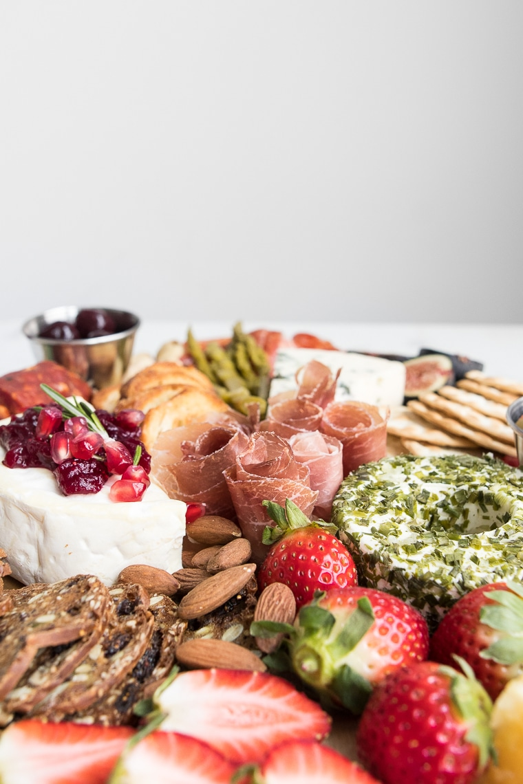 Close up of styled romantic cheeseboard