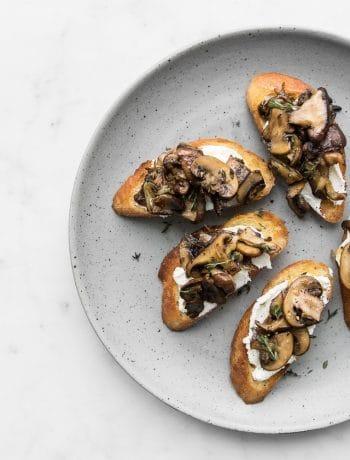 Close up of Mushroom Toast on a grey plate