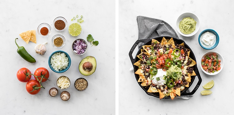 Flat lay images of the ingredients for the nachos and the finished loaded nachos