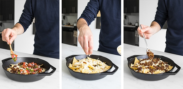 Images of the steps for making the loaded nachos: Layer chips, then cheese, then lentils, then salsa