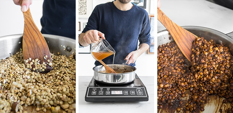 Three images: Phil stirring the lentils in a skillet, Phil add stock to the lentils, The lentils after finished cooking