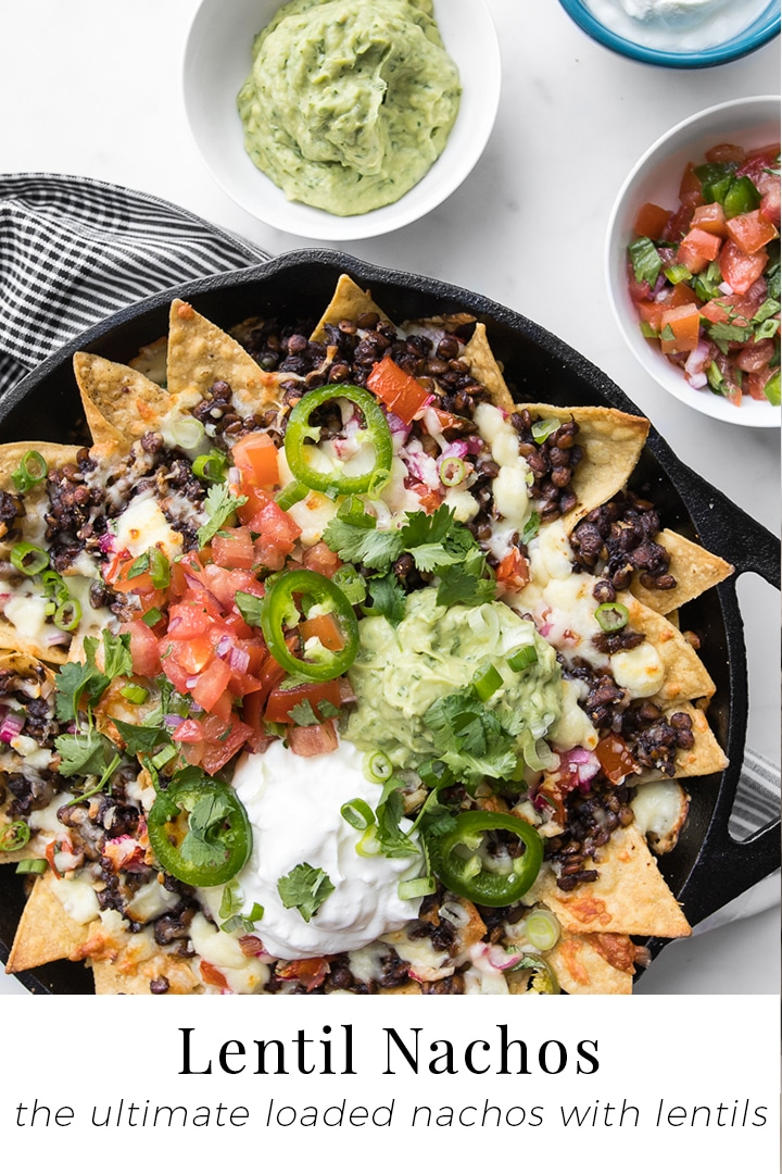 Salted corn chips topped with melty cheese, meaty lentils and a bright salsa with spicy guacamole, our ultimate fully loaded nachos are the perfect meatless dish for your game day lineup. #BeautifulFood #Nachos #Lentils #Snacks #Tacos #GameDay