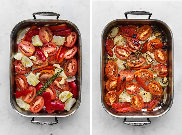 Uncooked tomato, red pepper, onions, and garlic in a roasting pan, next to pan of roasted tomatoes, peppers, and onions