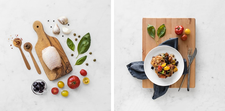 The Ingredient Flat Lay and the Finished Chicken Puttanesca on a wooden cutting board