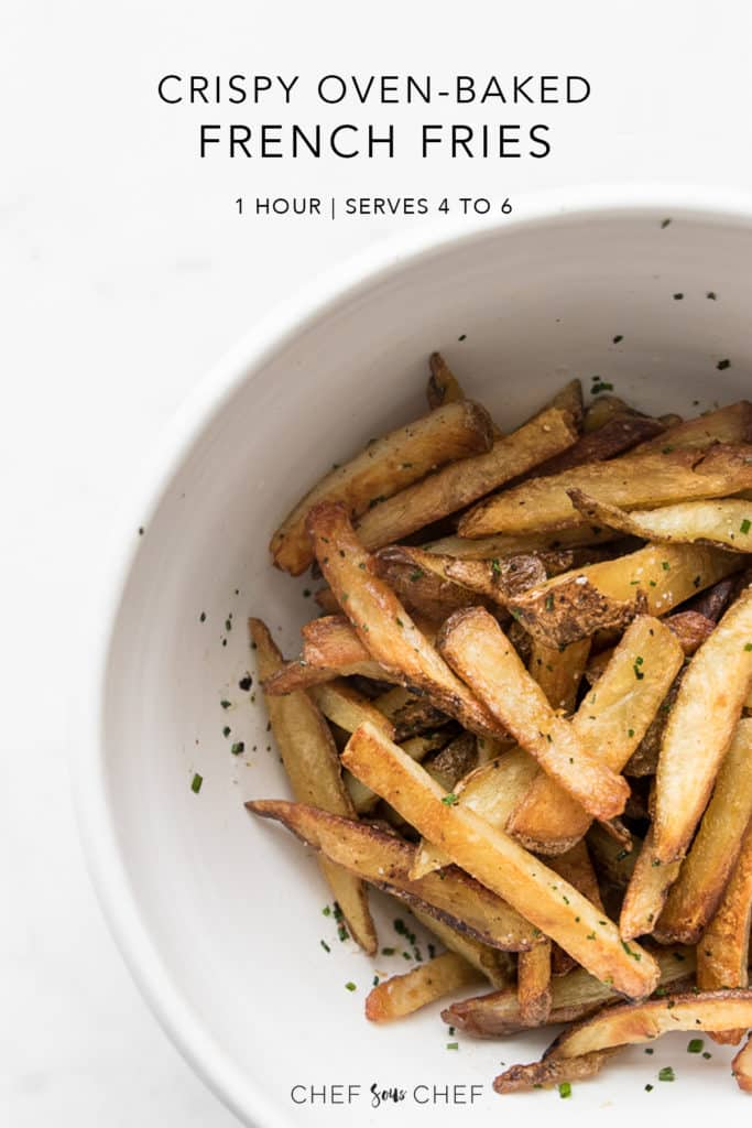 Crispy Oven Baked French Fries in a bowl with Recipe title text