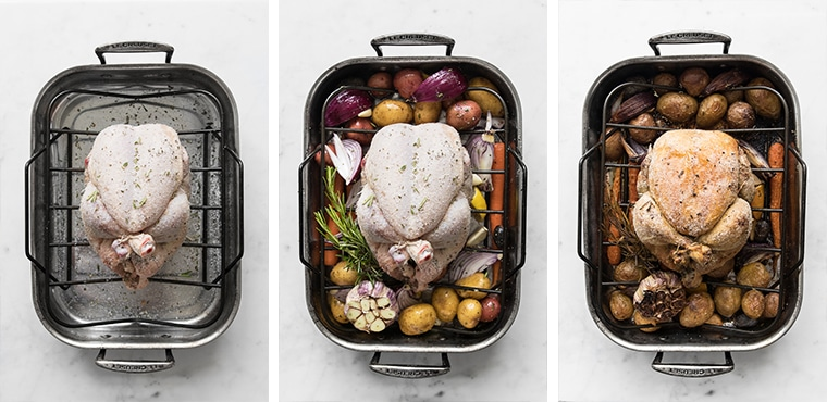 Seasoned uncooked chicken in roasting pan, seasoned uncooked chicken surrounded by vegetables, and finished roast chicken in roasting pan
