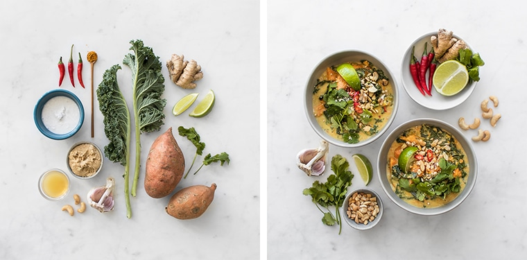 Flat Lay Image of the Ingredients and two bowls of Kale and Sweet Potato Stew