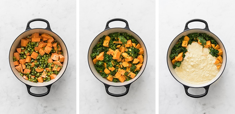 Step by Step Photos of Sweet Potato Stew | Step 1 - Boil Sweet Potato, Kale and Chicken Stock, Step 2 - add Kale Leaves, Step 3 - Stir in Cashew Sauces