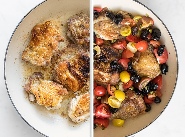 Plain Chicken cooking in a pan and Cooked chicken with tomatoes, olives, and capers in a pan