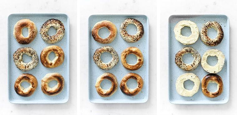 Left: Diced bagels on sheet pan, Middle: Sliced bagels with centre removed on a sheet pan, Right: Mayo spread on cut side of bagels