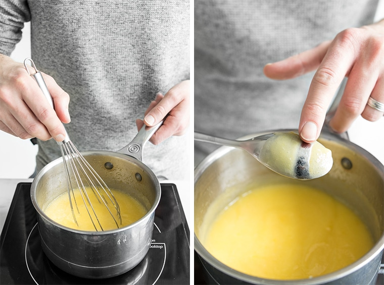 Whisking lemon curd and checking thickness of curd on the back of a spoon
