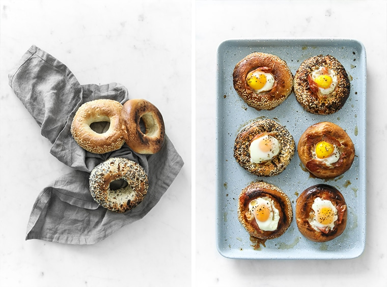 Left: Three bagels on a grey napkin, Right: Just baked eggs in a bagel hole