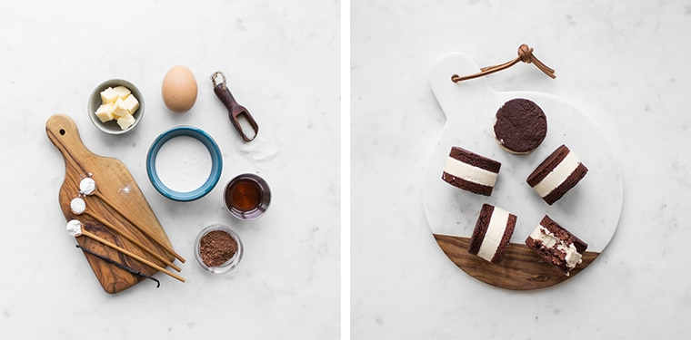 Flat lay of ingredients and finished coconut ice cream sandwiches