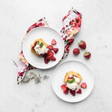Two plates of Strawberry Shortcake Cake from Above